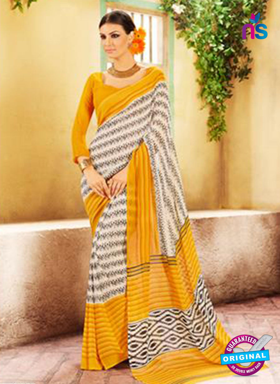 NS11918  Yellow and Cream Chiffon Saree