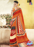 NS11922  Orange Gray and LightYellow Chiffon Saree