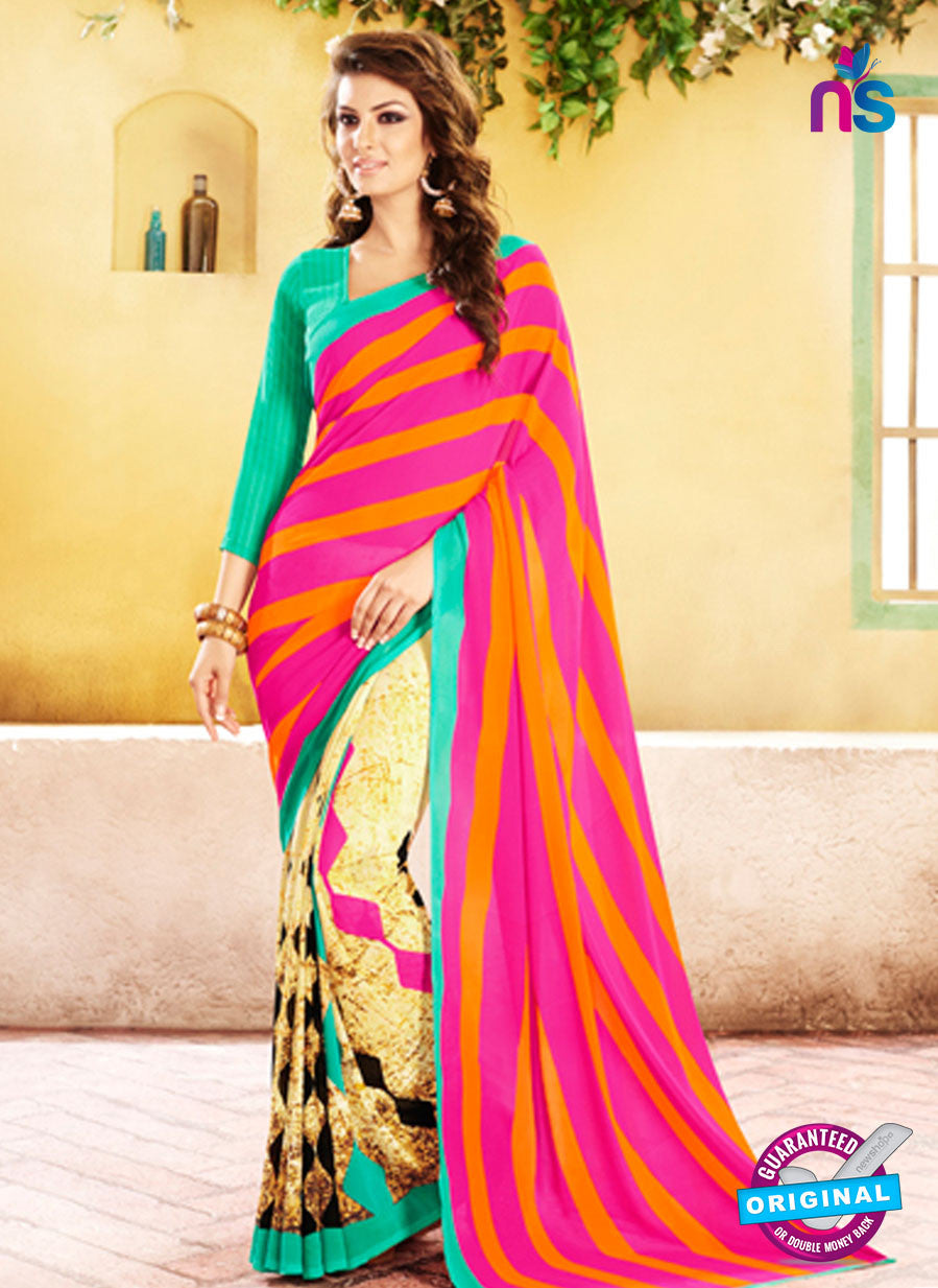 NS11925  Green Pink and LightYellow Chiffon Saree