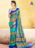 NS11926  Blue Sea Green and Brown Chiffon Saree
