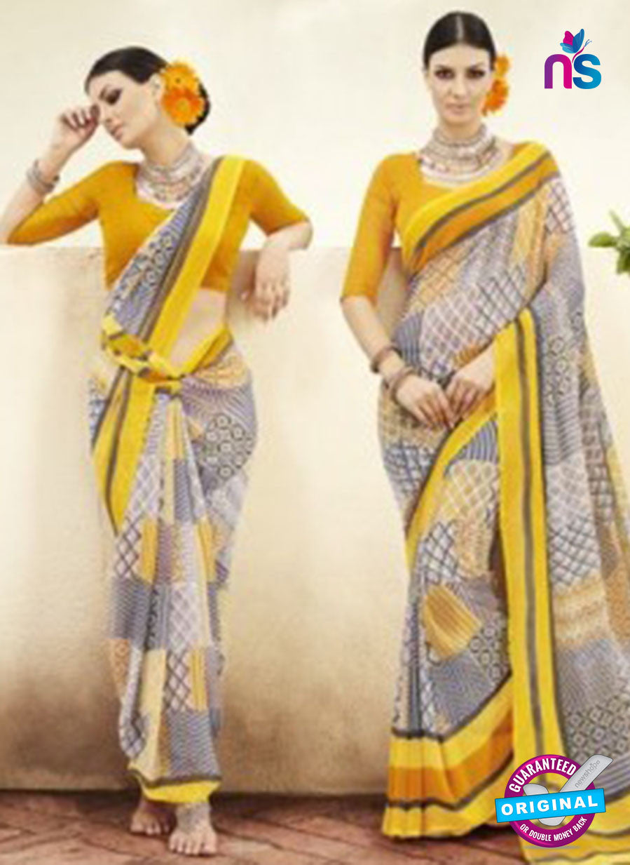 NS11928  Orange Yellow and Black Chiffon Saree