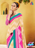 NS11929  Sea Green Beige and Pink Chiffon Saree