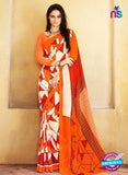 NS11930  Orange and Cream Chiffon Saree