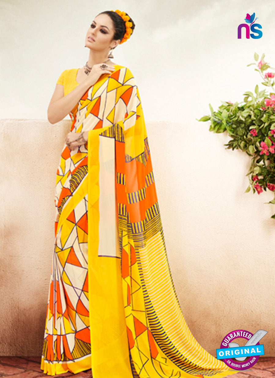 NS11931  Yellow Orange and Cream Chiffon Saree