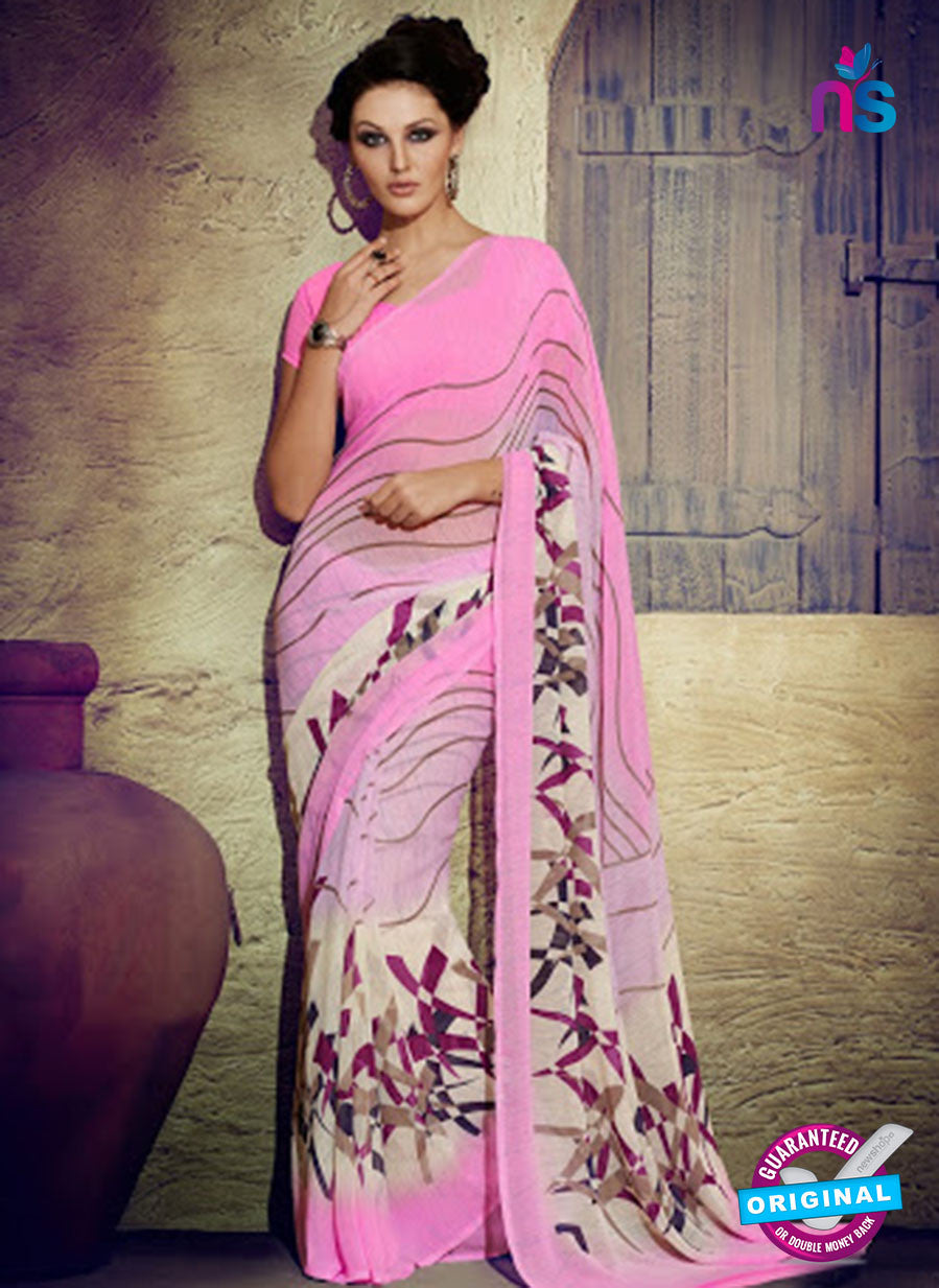 NS11934  Pink and Ivory Daily Wear Designer Chiffon Saree