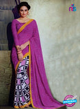 NS11939  Purple and Black Daily Wear Designer Chiffon Saree