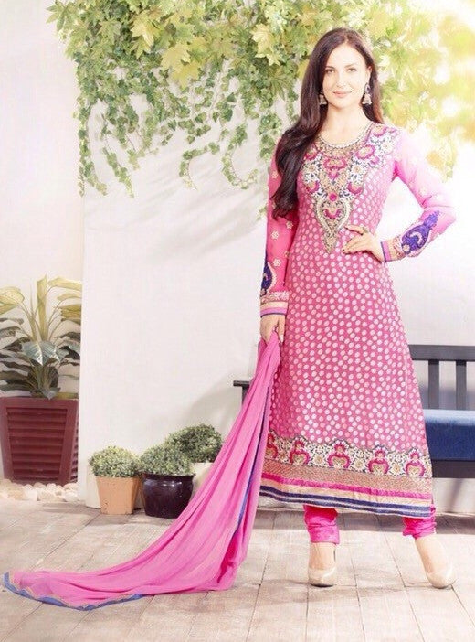 NS11953  Pink Color Long Designer Brasso Suit Dupatta Plazo