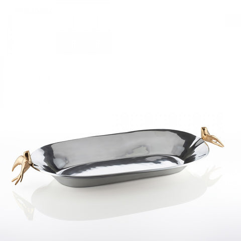 Dove Oval Bowl Lg Silver/Gold