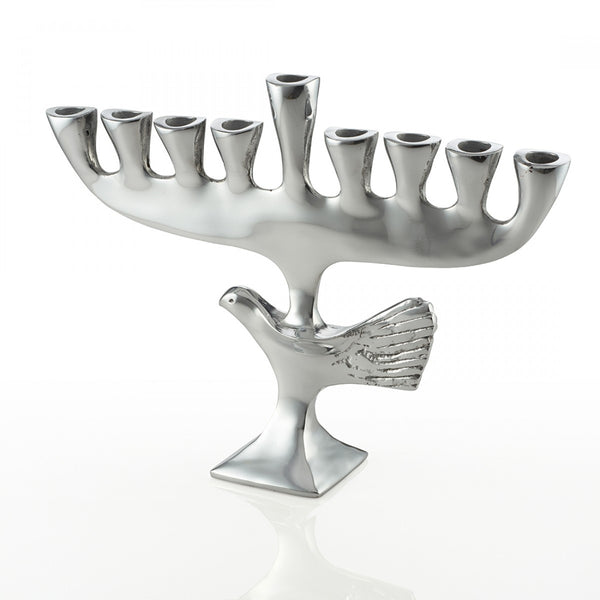 Bird Menorah Silver