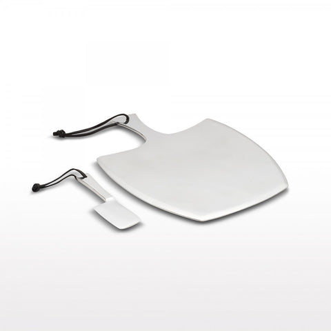 Cheese Paddle Set Lg Wide Silver