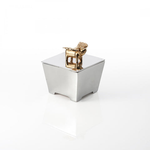 Flying Pig Square Box Silver/Gold