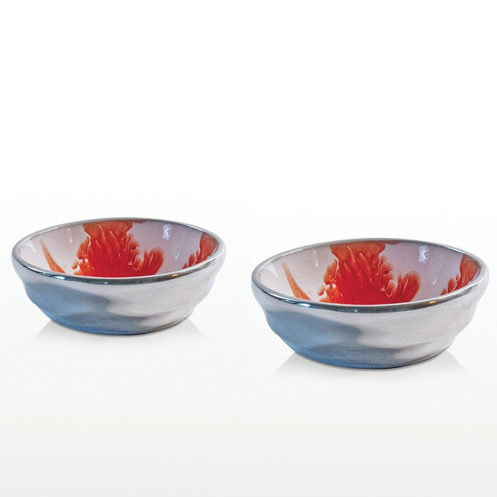Aquos Coral Salt & Pepper/Dipping Bowls Set/2