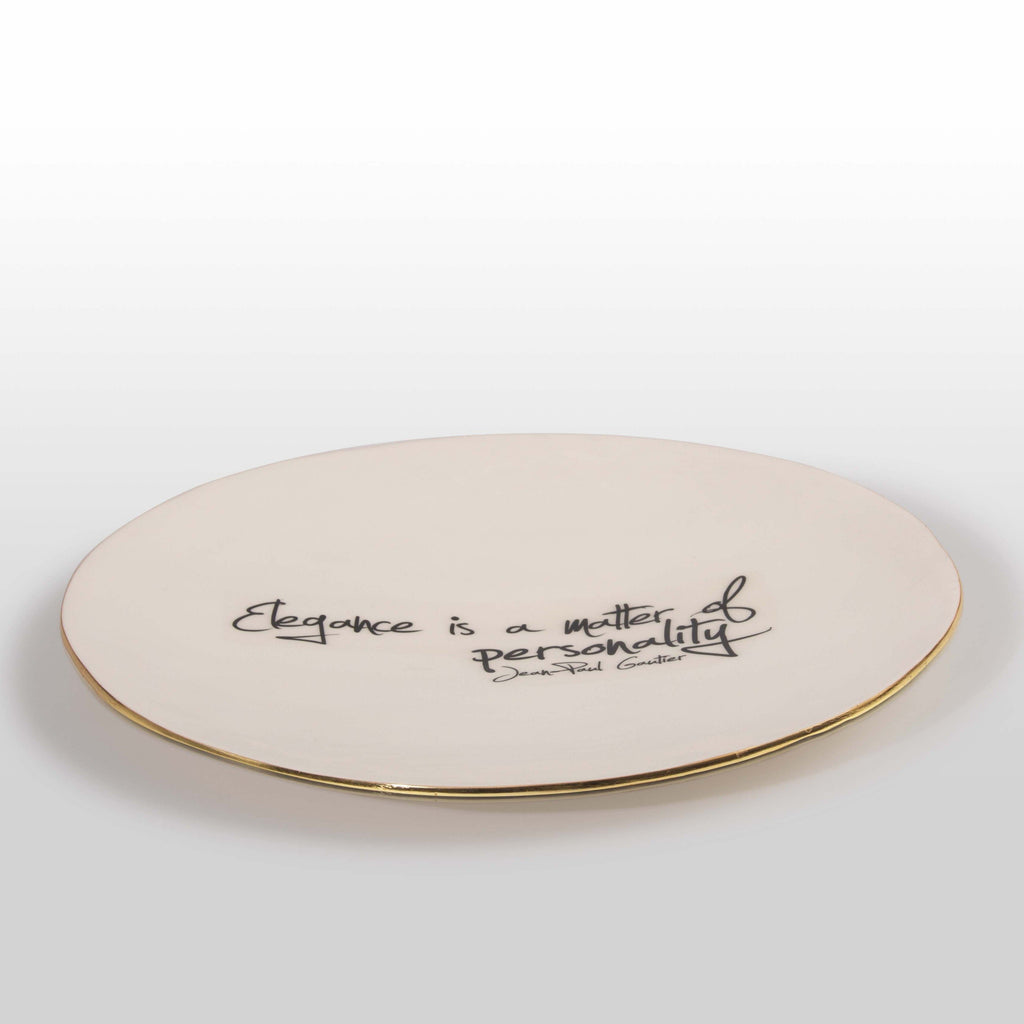 """Elegance Is A Matter Of Personality"" Jean Paul Gaultier - Large Platter with Quote"
