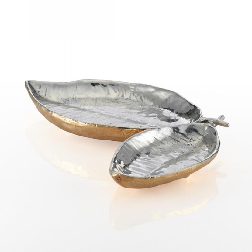 Feather Double Dish Silver/Gold - Nima Oberoi Lunares