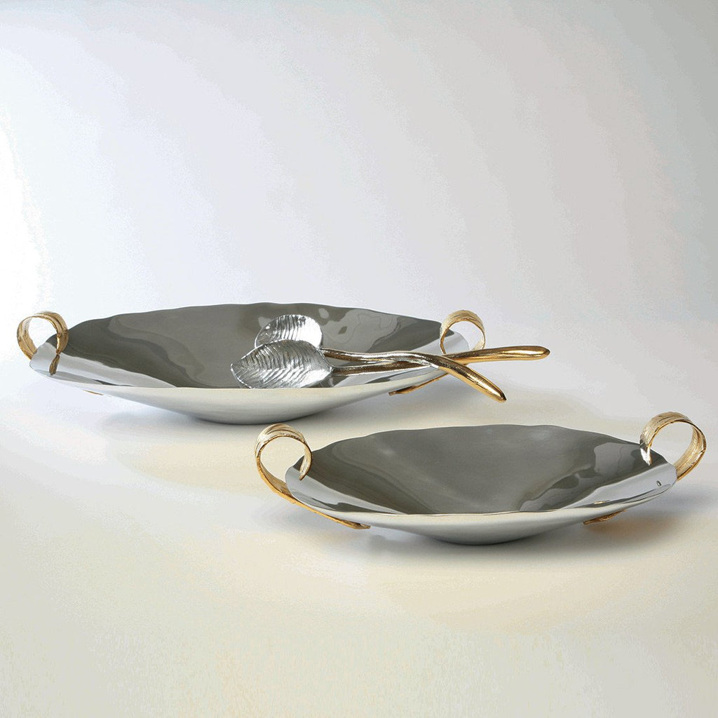 Feather Oval Handle Bowl Silver/Gold - Nima Oberoi Lunares