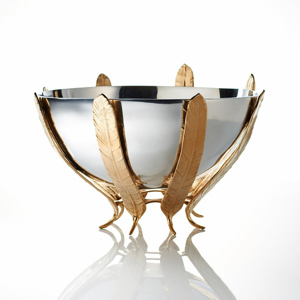 Feather Pedestal Bowl Silver/Gold - Nima Oberoi Lunares