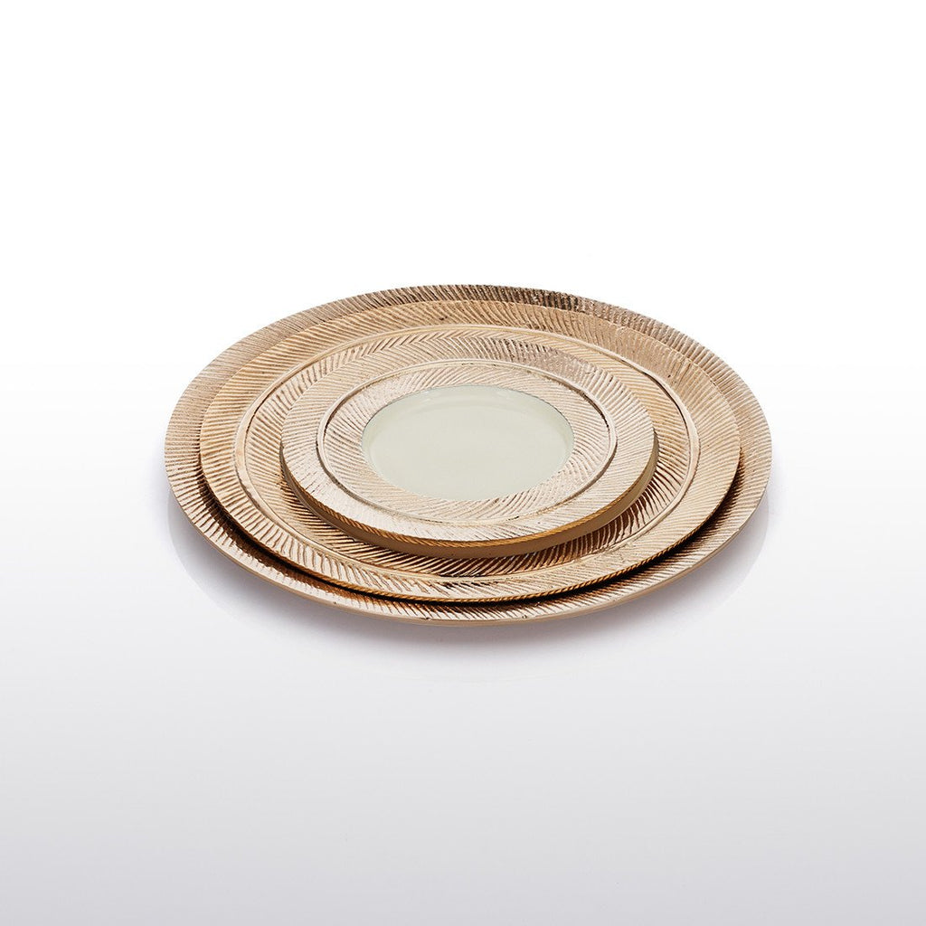 Feather Plates Gold/Oyster - Nima Oberoi Lunares