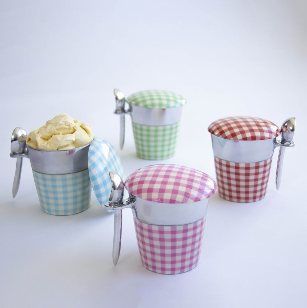'Gingham' Pint Ice Cream Holders
