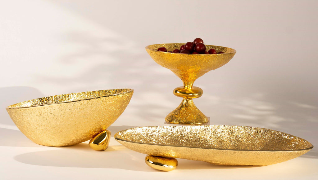 Nest Pedestal Bowl Gold