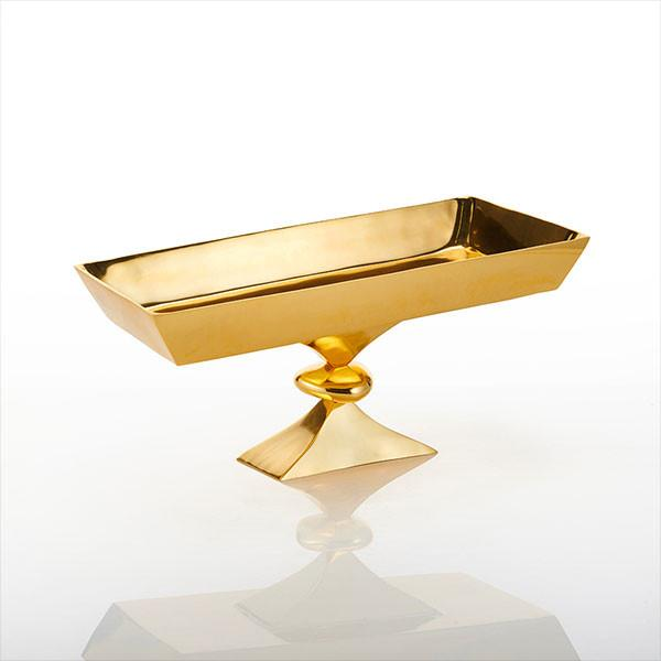 Rock Rectangle Pedestal Bowl Gold