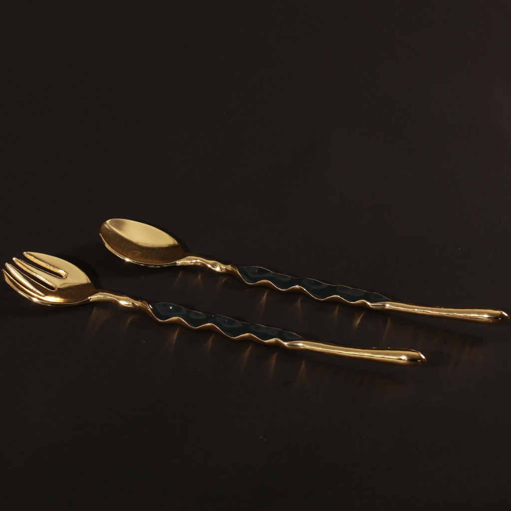 Ruffled Salad Server Gold
