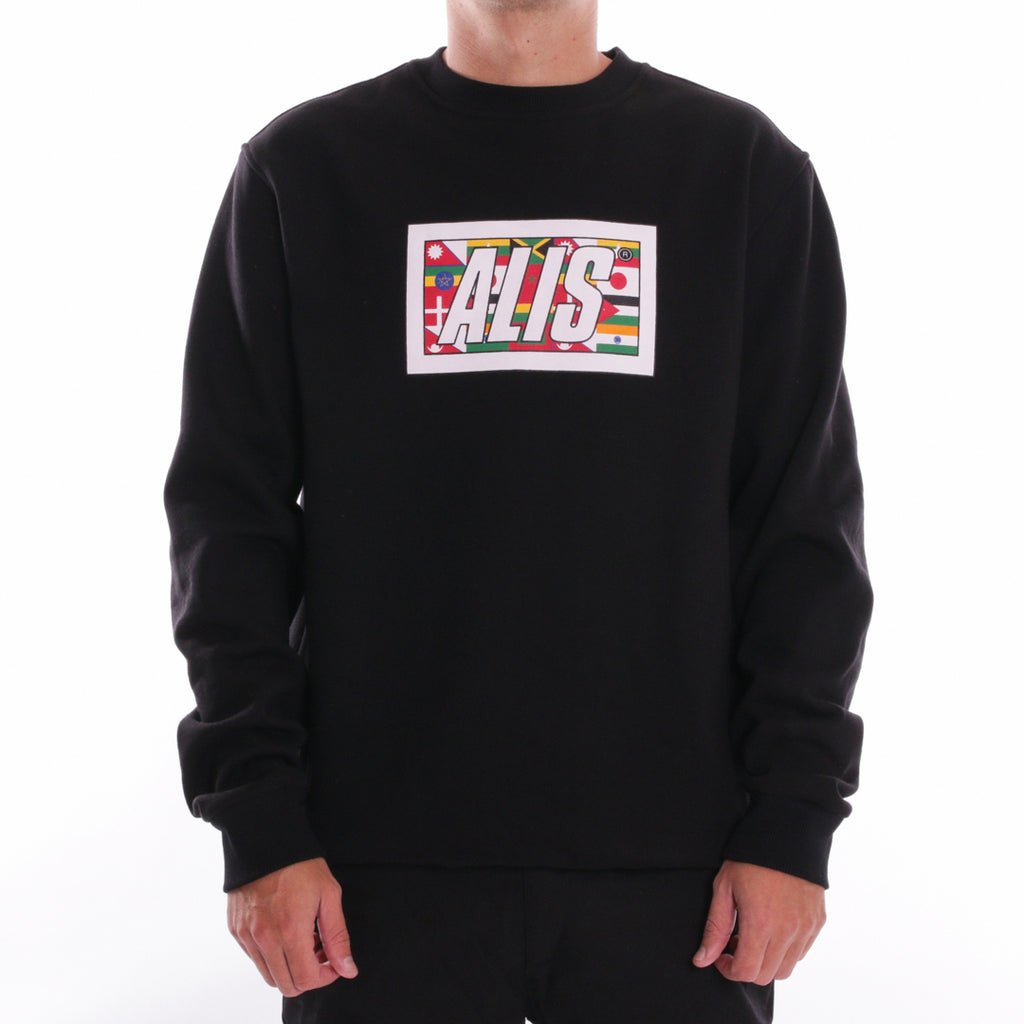 ALIS WORLDWIDE BOX LOGO CREWNECK BLACK - FRONT