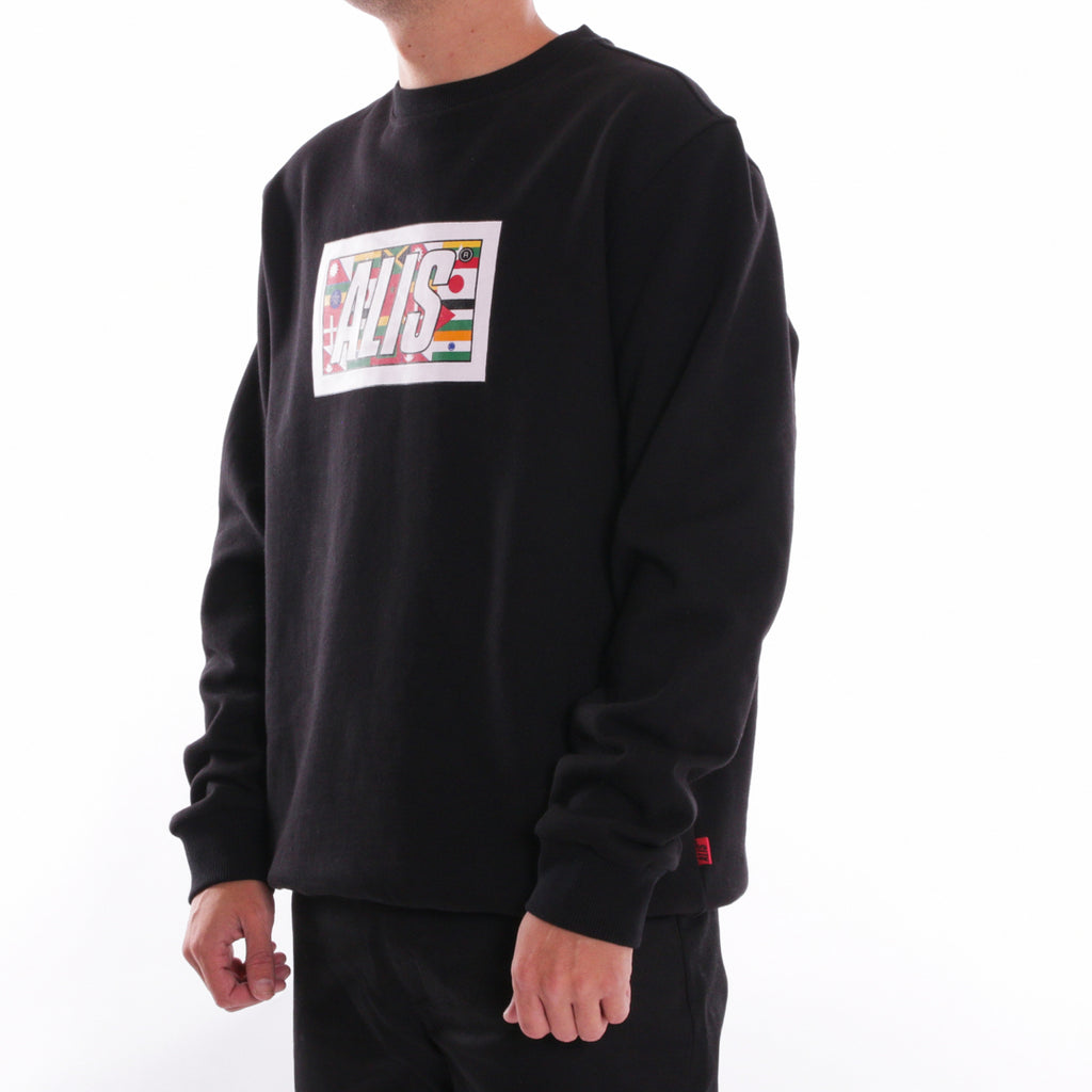 ALIS WORLDWIDE BOX LOGO CREWNECK BLACK - SIDE