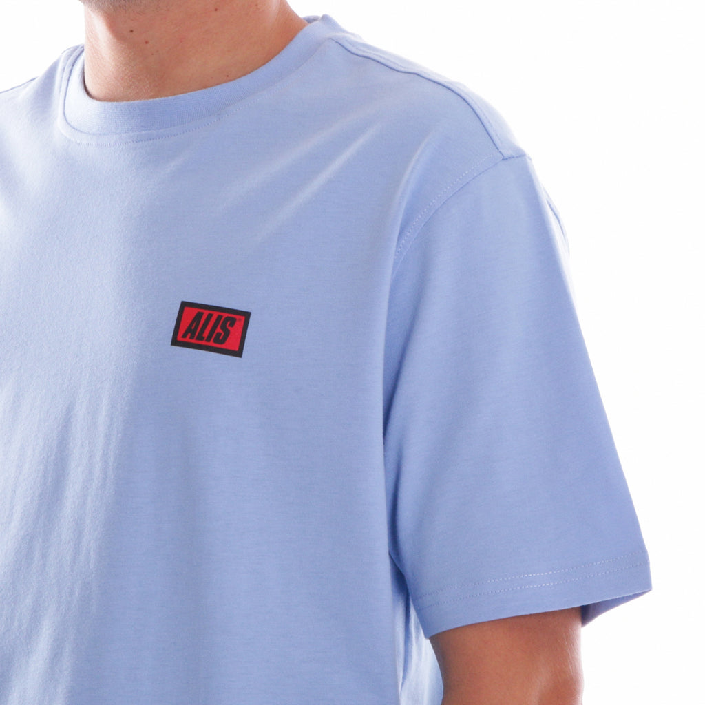ALIS CLASSIC MINI LOGO TEE POWDER BLUE, detail shoulder box logo