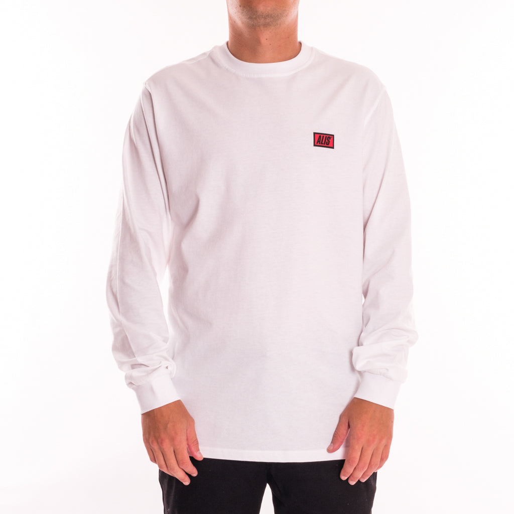 ALIS CLASSIC MINI LOGO LONG SLEEVES TEE WHITE, front