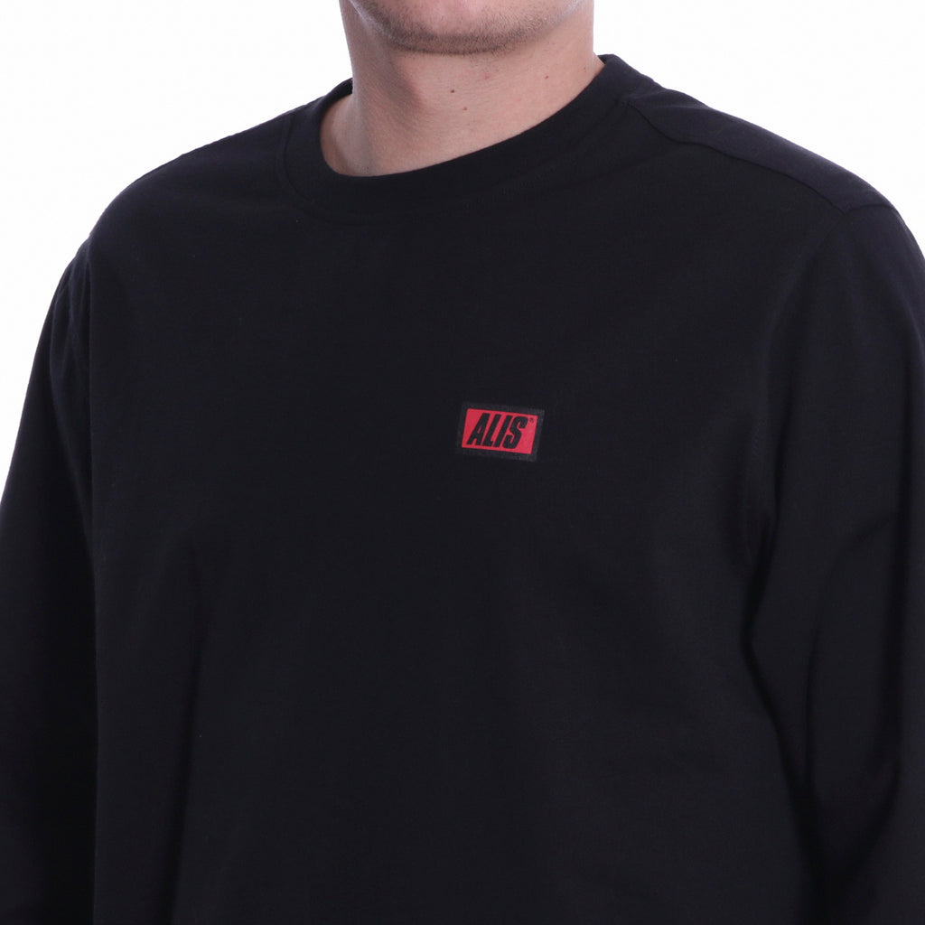 ALIS CLASSIC BOX LOGO LONG SLEEVE TEE BLACK, front detail logo