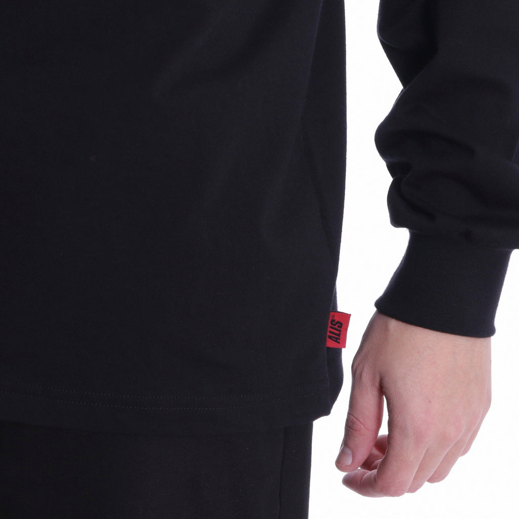 ALIS CLASSIC BOX LOGO LONG SLEEVE TEE BLACK, sleeve detail