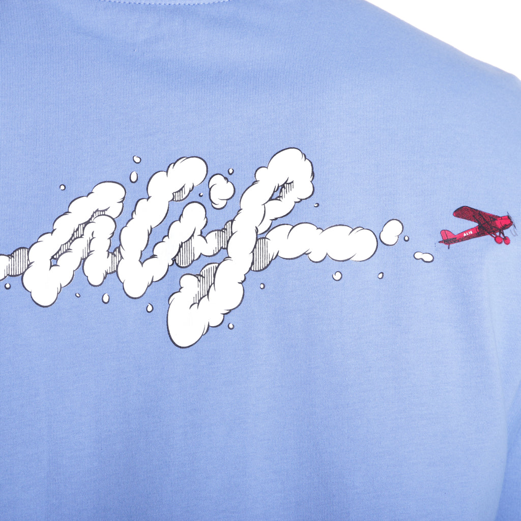 ALIS SKY'S THE LIMIT BLUE TEE, print detail with red aeroplan and white smoke