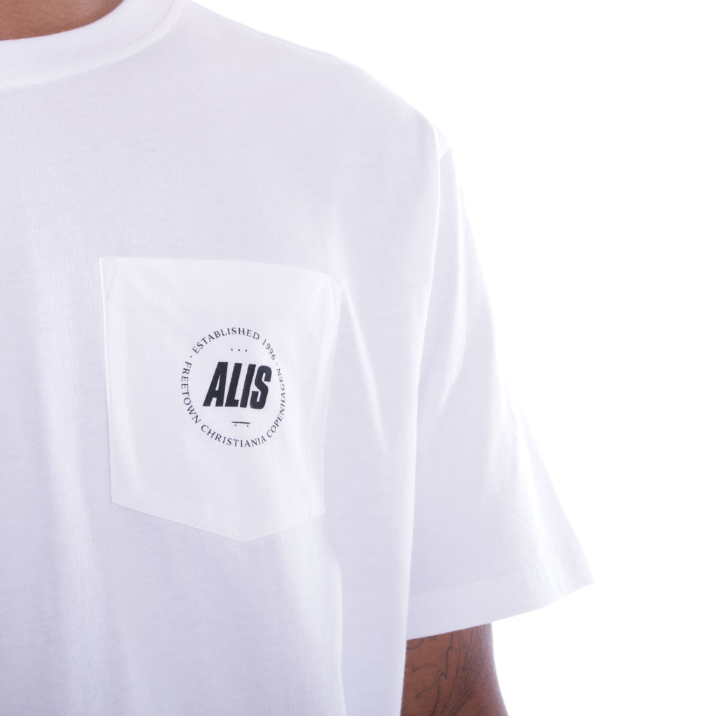 ALIS FREETOWN POCKET TEE WHITE, pocket detail frontside