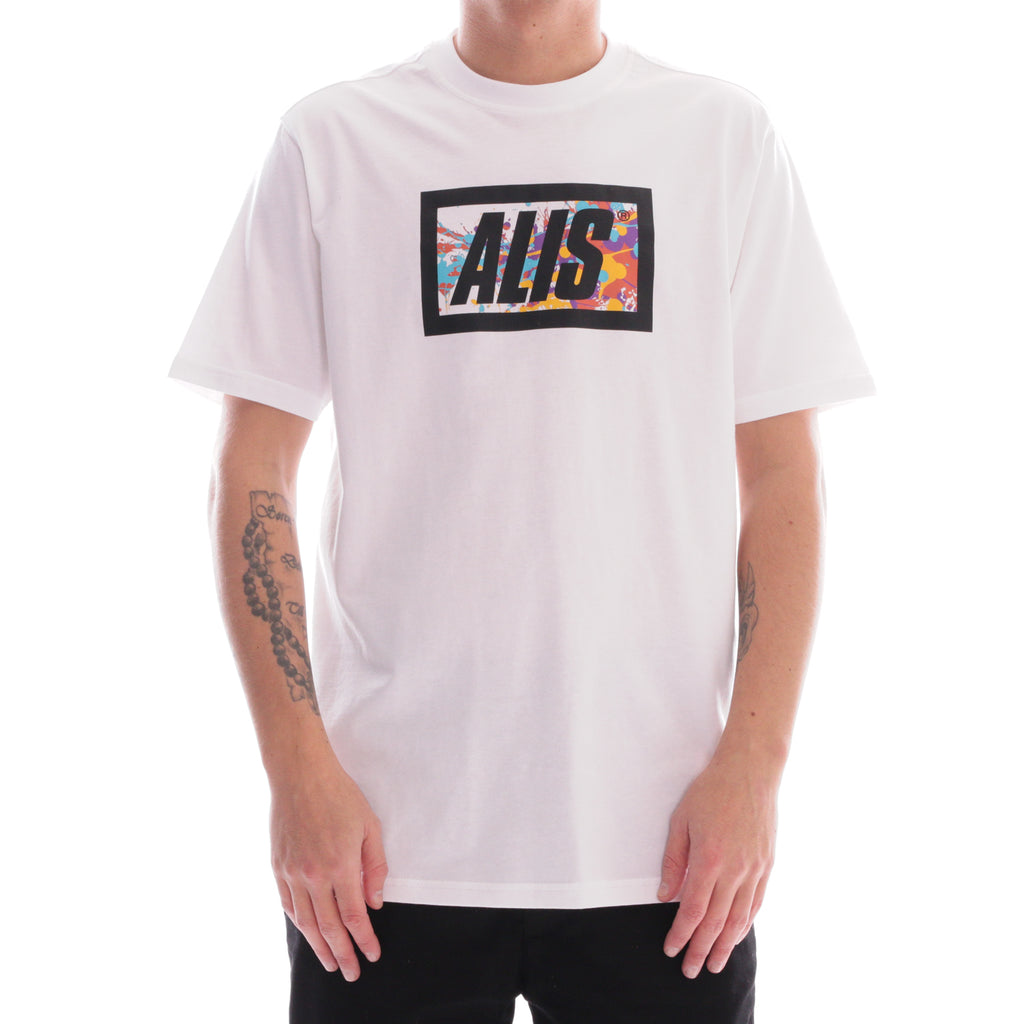 ALIS SPATTER CLASSIC BOX LOGO TEE WHITE, front side