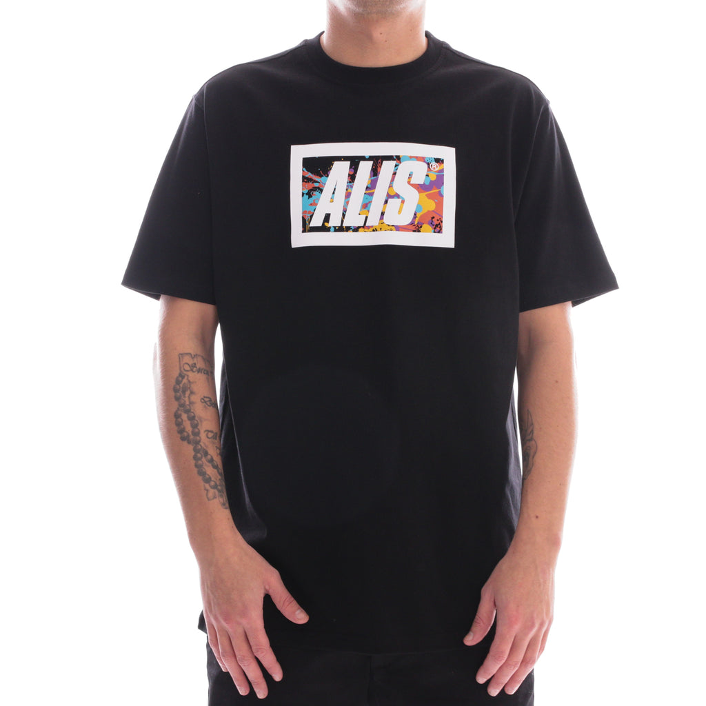 ALIS SPATTER CLASSIC BOX LOGO TEE BLACK, front side