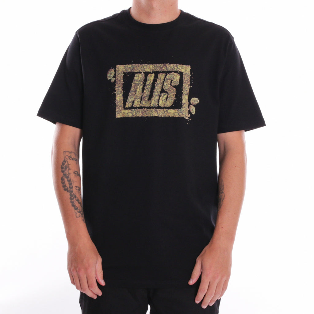 ALIS CRUMBLE STENCIL LOGO TEE BLACK, front