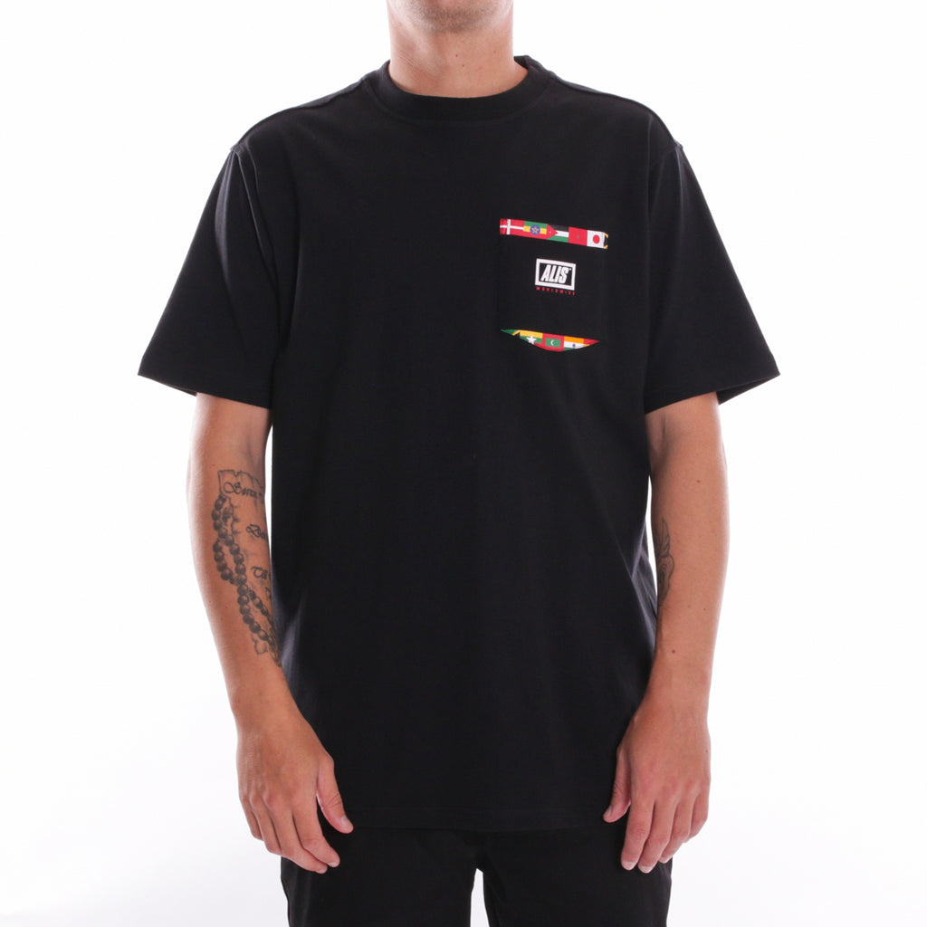 FRONT - ALIS GOING GLOBAL POCKET TEE BLACK