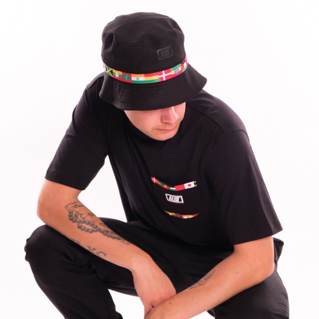 Going Global Pocket tee and Going Global Bucket Hat Black