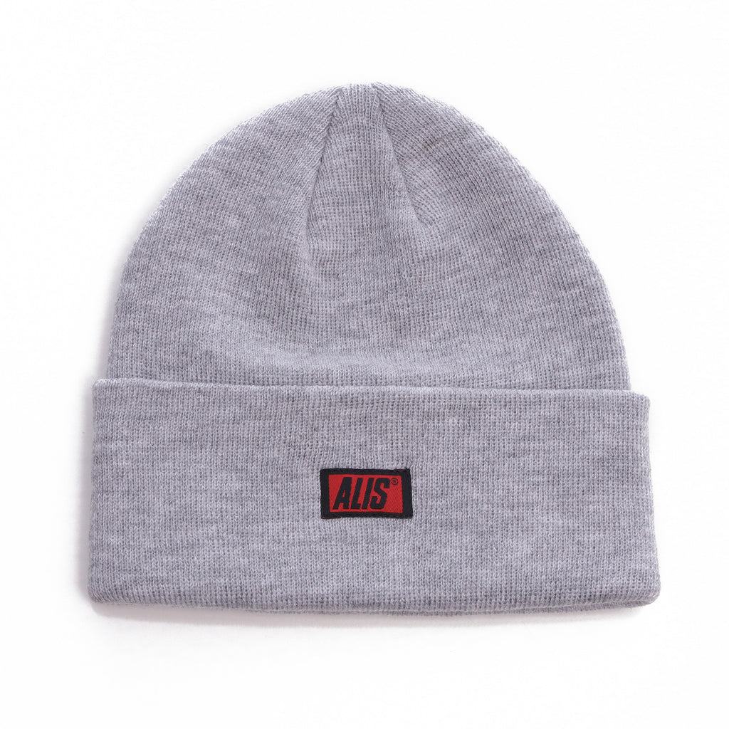Front, ALIS Classic Box Logo Low Beanie, Heather Gray