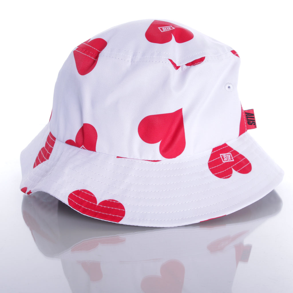 ALIS LOVERS BUCKET HAT WHITE/RED