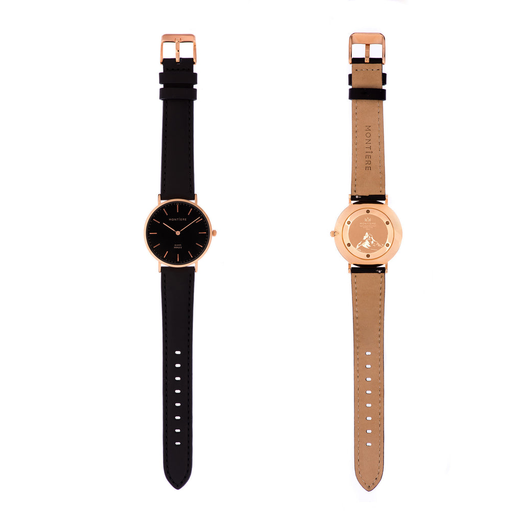 Rouése N°36 Black/Rose Gold Watch Strap