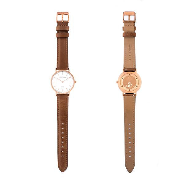 Rouése N°36 Brown/Rose Gold Watch Strap