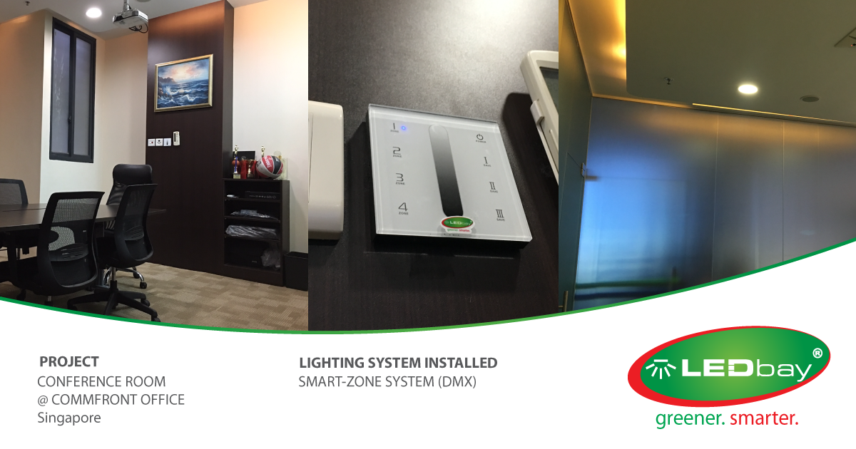 LEDbay Smart-Zone Advanced Lighting System installed in a conference room