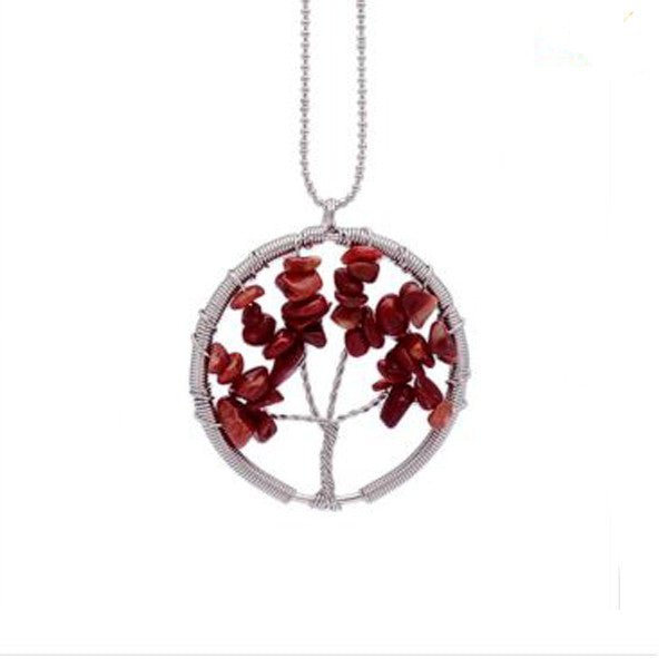 Wisdom Tree of Life - 7 Chakra Natural Stone Pendant Necklace