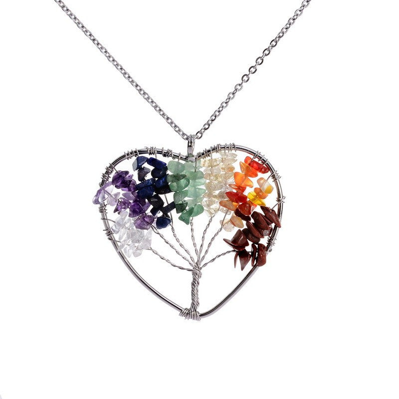 Heart Tree of Life - 7 Chakra Natural Stone Pendant Necklace