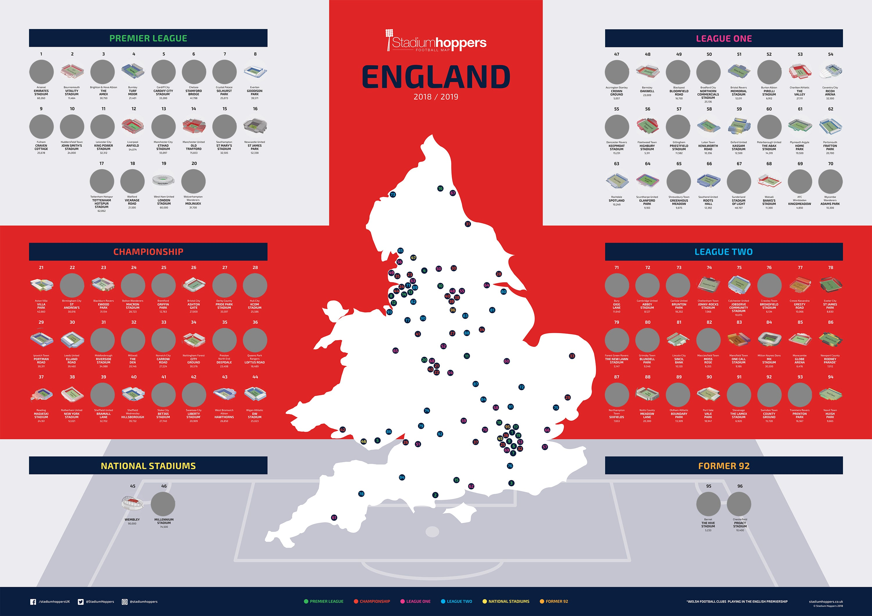 Map Of England Poster.Scratch Football Map 2018 19