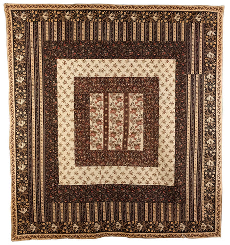Simple Frame Quilt with floral motif fabrics from The Quilters' Guild Museum Collection
