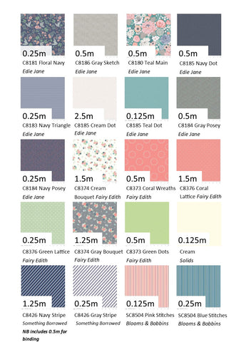 Fabric requirements for the Red Manor House block of the month project