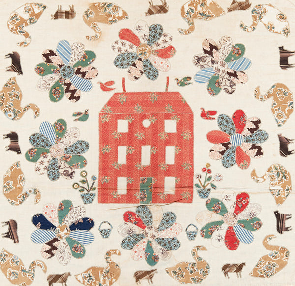 Red Manor House Pattern House Block
