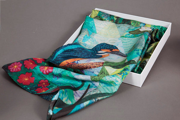 Kingfishers Catch Fire, Dragon Flies Draw Flame - Silk Scarf